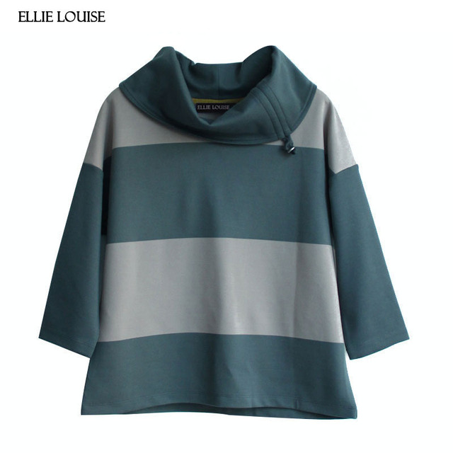 b69e716cb72 ellie louise 2017 New Autumn and Winter Fashion Women s Stripe Sweatshirts  Female Casual Short Pullover Lazy Look Top Hoodies