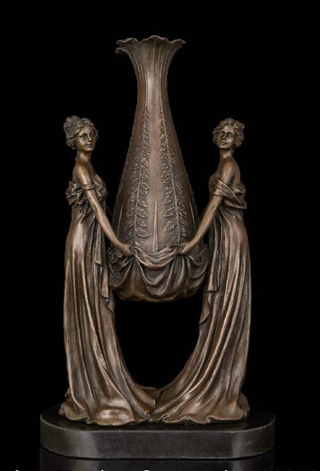 bronze Decoration Pure Brass Good value Lucky Abstract Art Sculpture Copper Bronze Marble Base Bottle Pot Vase Maiden Statue