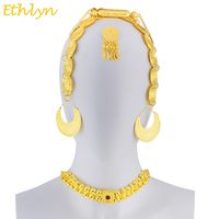 Ethlyn Eritrean Wedding Traditional Jewelry Five Pcs Choker Sets Gold Color Stone Wedding Jewelry Sets Ethiopian