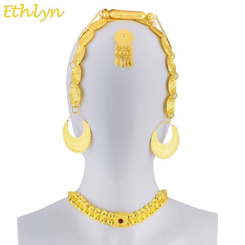 Ethlyn Eritrean Wedding Traditional Jewelry Five Pcs Choker Sets Gold Color Stone Wedding Jewelry Sets Ethiopian Women S097B