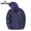 TANGNEST 2017 Six Colors New Arrvial Men's Spring Printing Jacket Hooded Casual Fashion Male Asian Size Jackets MWJ2212