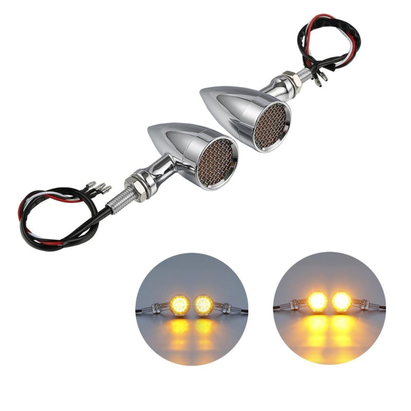 Home Amber Mesh Lens Led 2 Color Turn Signal Brake Light Bullet Bobber For Cafe Racer 12v For Harley Dyna Softail Flht Motorcycle