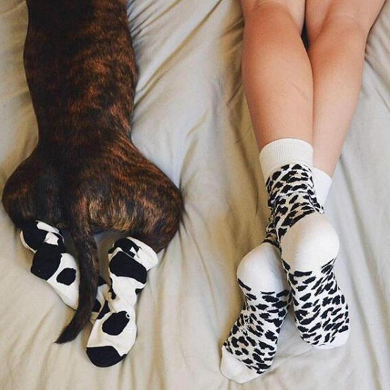 e31b03f06 Creative Leopard Print Long Cotton Socks For Family Matching Parent ...