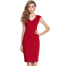 Women Fashion Brief Style Simple Color V-Neck Sexy Slim Bodycon Business Dress Cap Sleeve Lady Pencil Dresses With Pocket EG284