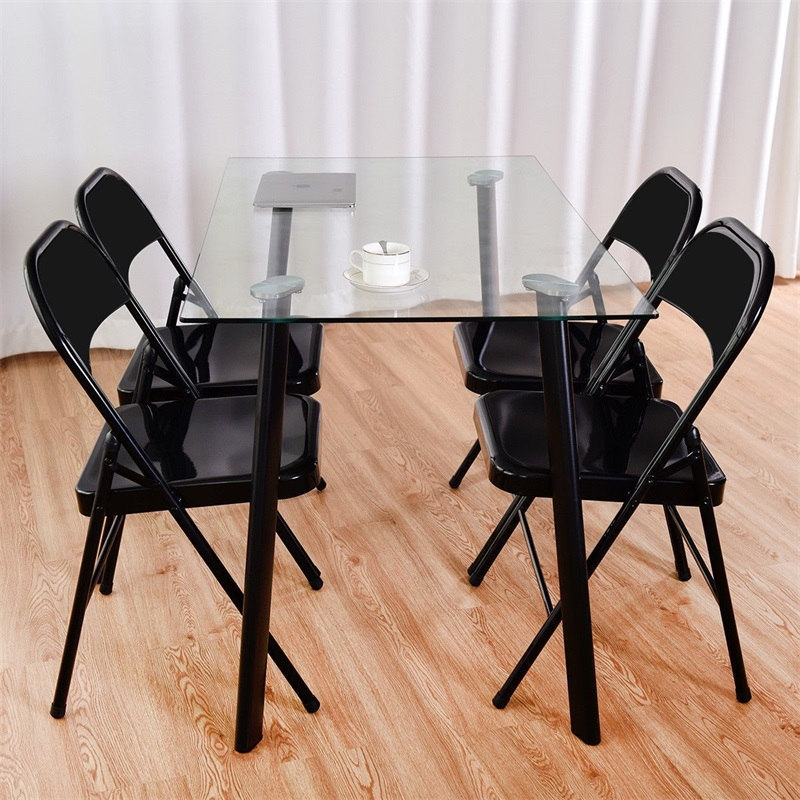 Set Of 4 Steel Frame Heavy Duty Armless Folding Chairs Waterfall Front Edge Office Chair With Heavy-load Steel Frame HW58553
