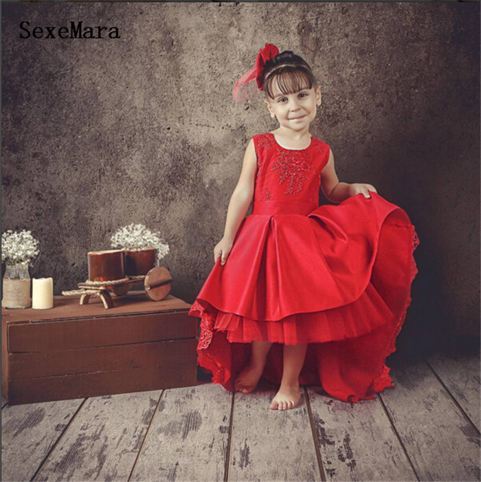 Vintage Red Little Princess Birthday Dress with Long Train High Low Lace Appliques Kid Graduation Gown Christmas oufit with Bow