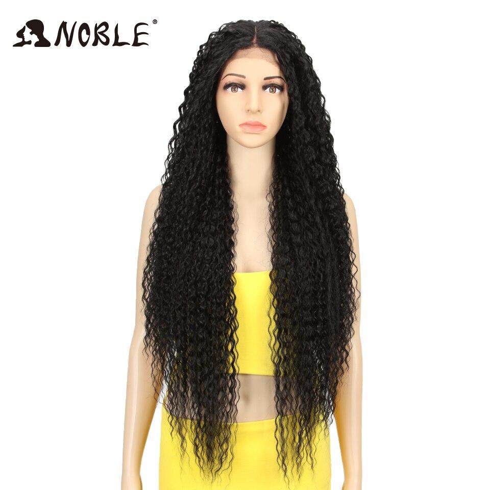 Noble perruque synthétique dentelle avant pour les femmes longue partie 38 pouces Long bouclés Ombre Blonde perruque avec des racines foncées ondulés résistant à la chaleur