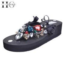 Hee Grand/кристалл Вьетнамки Летние пляжные тапочки на танкетке женская обувь на платформе в богемном стиле тапочки без застежки 35-42 XWD5611