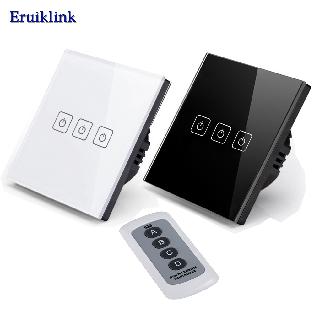 Eruiklink EU/UK Standard 3 Gang 1 Way Wireless Remote Control Light Switches,RF433 Remote Wall Touch Switch 220V  for Smart Home 3gang1way uk wall light switches ac110v 250v touch remote switch