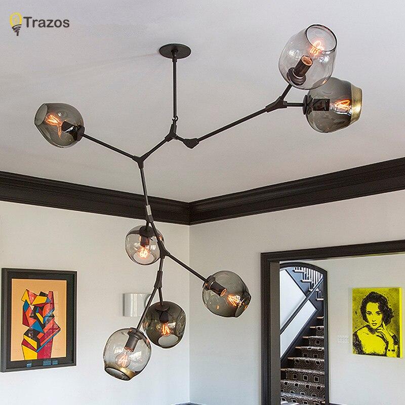 Designer lustres Nordiques idée branches pendentif lampe boule en verre lampe droplight de post-moderne art