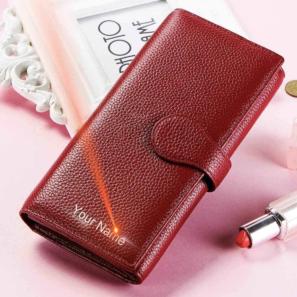 KAVIS Genuine Leather Free Engraving Women Wallet Purse Coin Female Portomonee Walet Lady Long Handy Money Card Holder For Gifts