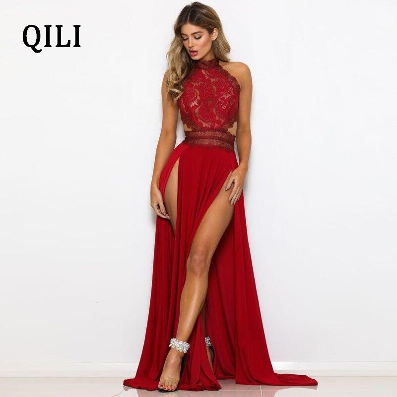 QILI Black Red Lace Long Maxi Dress Women Backless Split Sexy Party Club Dresses Elegant Ladies Back Cross Dress Female Robe