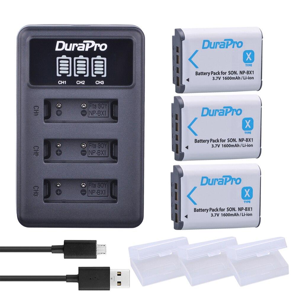 3 Unid NP-BX1 NP BX1 NPBX1 batería + LED 3 Puerto cargador USB para Sony DSC RX1 RX100 RX100iii M3 m2 WX300 HX300 HX400 HX50 HX60 GWP88