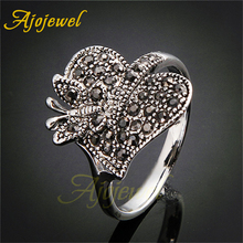 Ajojewel New Design Ring Leaf Butterfly Jewelry Black Rhinestone Vintage Accessories