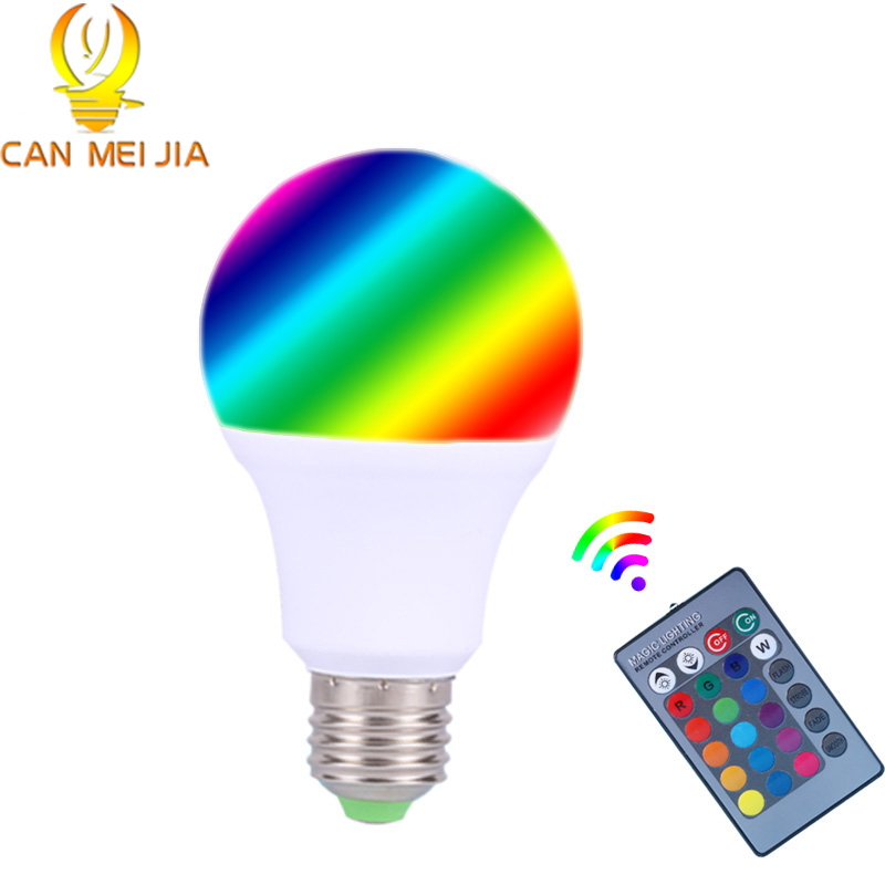 RGB E27 Led Bulb 3W 5W 7W Dimmable Spotlights Lamp Lights 16 Color Change +IR Remote Control 85-265V Home Christmas Decoration wifi rgb led lamp bulb dimmable e26 rgb color light for smart home support for alexa and google home