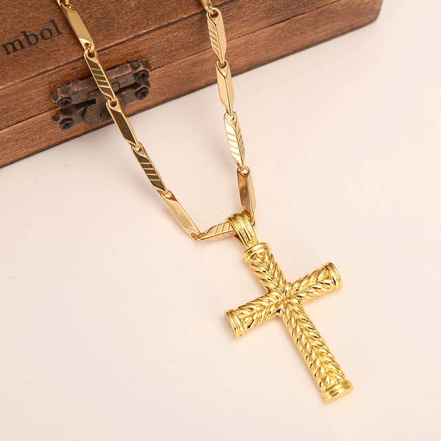 Mens Women Cross 18 K Solid Gold Gf Charms Lines Pendant Necklace Fashion Christian Jewelry Factory Wholesalecrucifix Gift