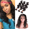 360 Lace Frontal Closure With Bundles Raw Virgin Indian Remy Human Hair 360 Lace Band Full Frontal Closure Body Wave With Bundle