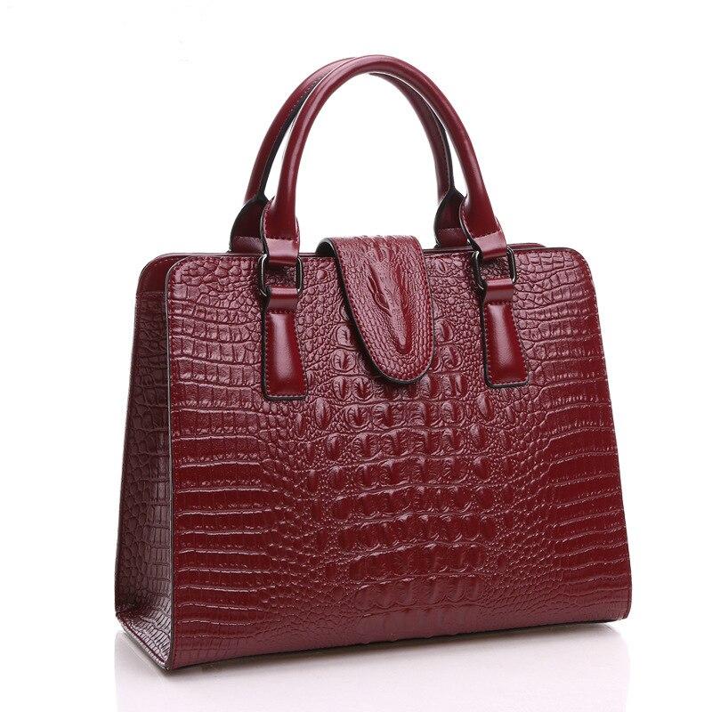 Top Layer Cow Leather Women Handbags Shoulder Bag Tote Crocodile Pattern Envelope Famous Design Brand Female Messenger Bag