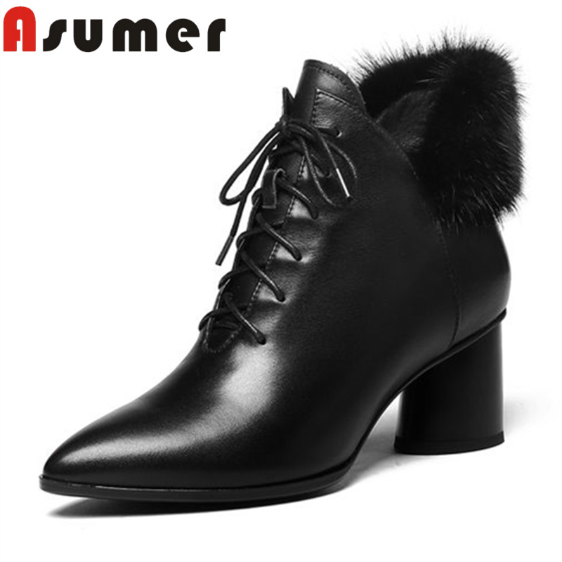 все цены на ASUMER HOT SALE 2018 fashion adult ankle boots for women solid fur winter boots thick heels pointed toe genuine leather boots