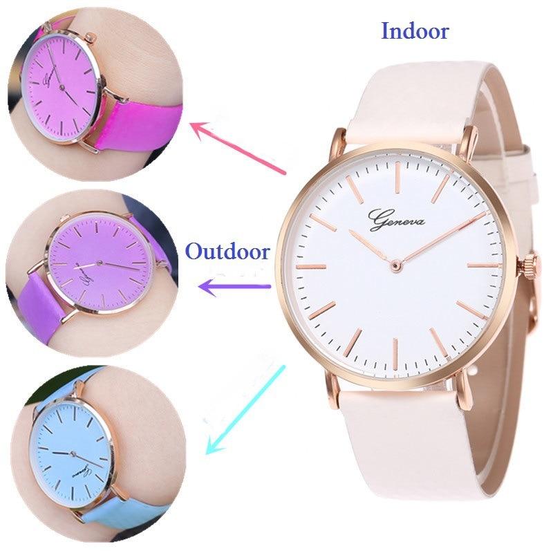 Fashion Women Watch Casual Quartz Watches Luxury Girl Watch Change Color Lady Clock 2019 Leather Band Wristwatch Montre Femme