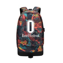 Russell Westbrook Anthony George USB Canvas Backpack Men Women Large Capacity Travel Bag Casual Rucksack Boy Girl School