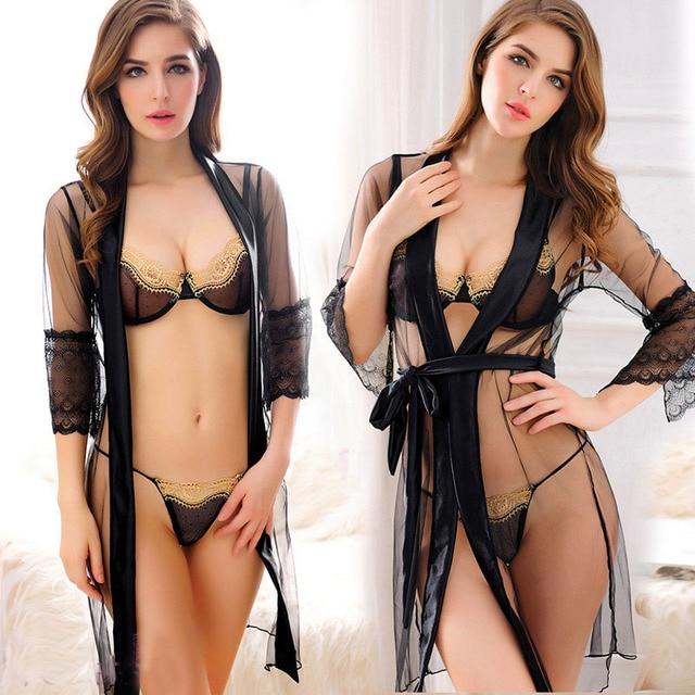 New Porn Women Lingerie Sexy Hot Erotic Sleepwear Three Pieces Tenue Sexy Erotic Underwear Black Mesh