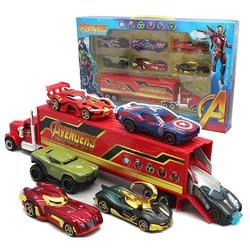 7 шт./компл. мстители Супер Герои Грузовики Игрушки Капитан Америка железо 1:55 литые Автомобили Модель игрушки подарки на день рождения для д...
