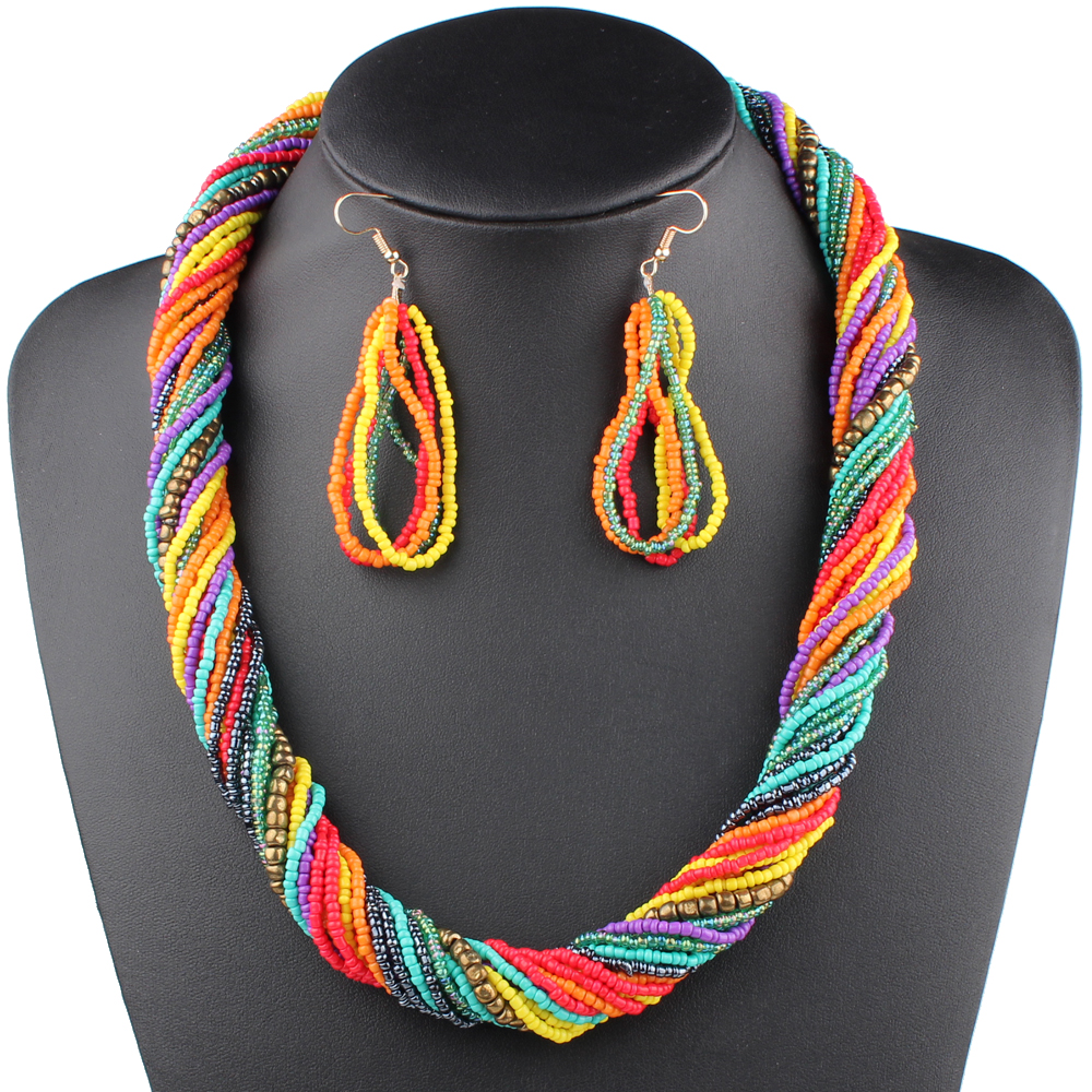 Claire Jin Small Beads Multi Colors Multi Layer Necklace Earrings Jewelry Set Bohemian