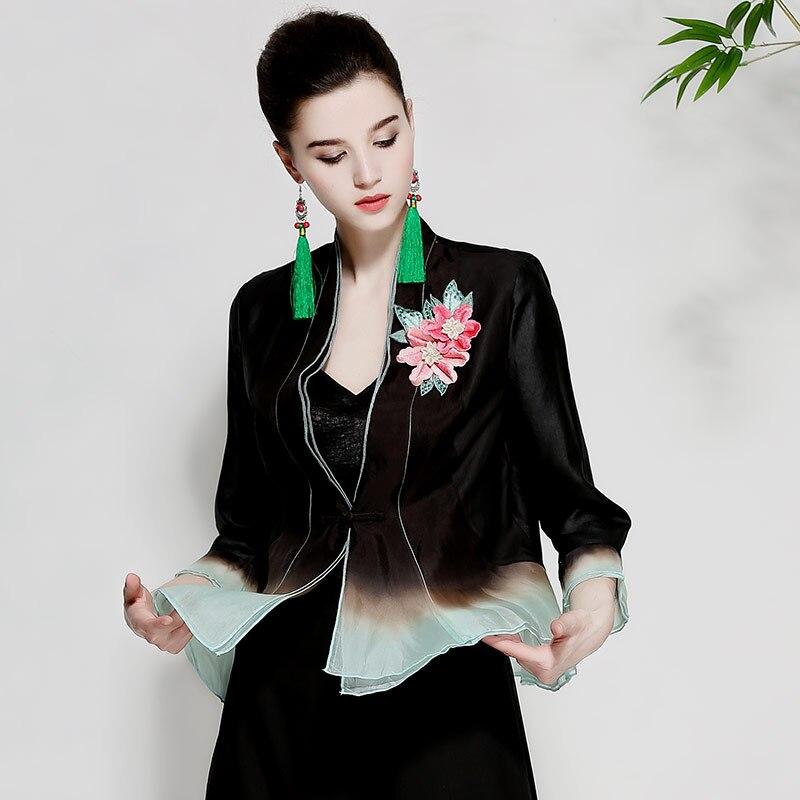 Для женщин летние топы королевский вышитые Урожай Цветочные Короткие пальто высокого класса с рукавами 3/4 Женская Повседневная шелк пальто