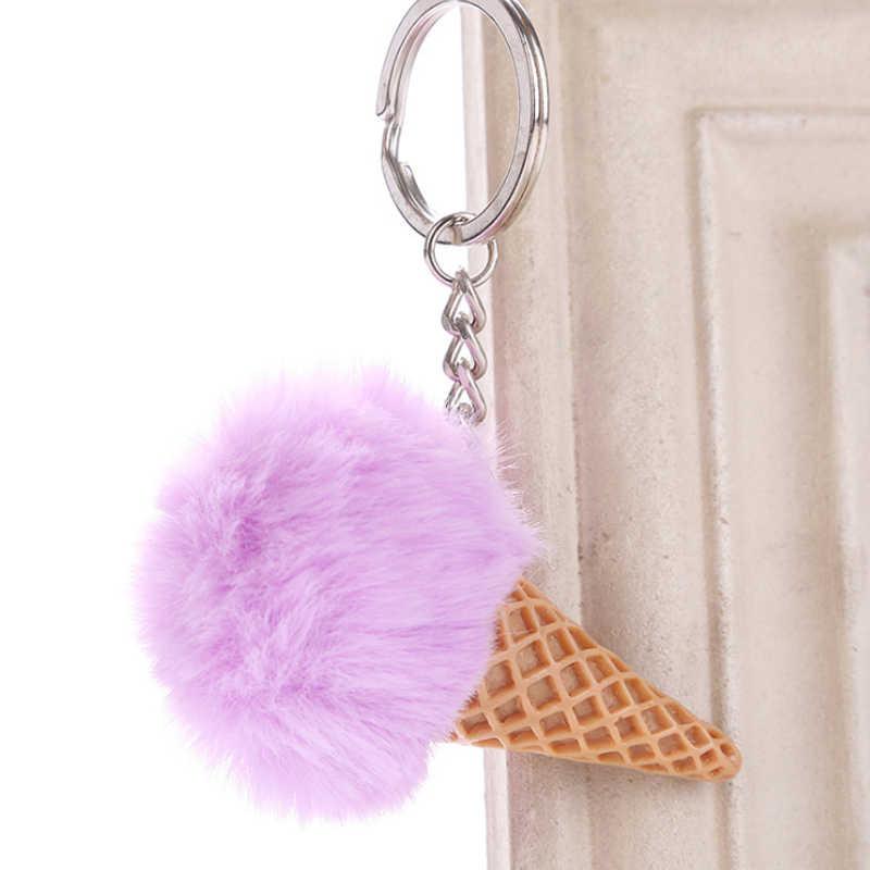 Saco de sorvete chaveiro chaveiro de bola de pele de cor dupla sorvete em forma de carro bonito chaveiro bolsa para meninas presente