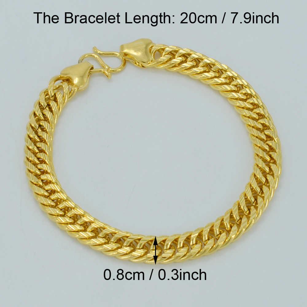 Anniyo długość 20cm Link bransoletka dla kobiet/mężczyzn złoty kolor afryka łańcuch ręczny, gruby Bangle arabski prezent #002907