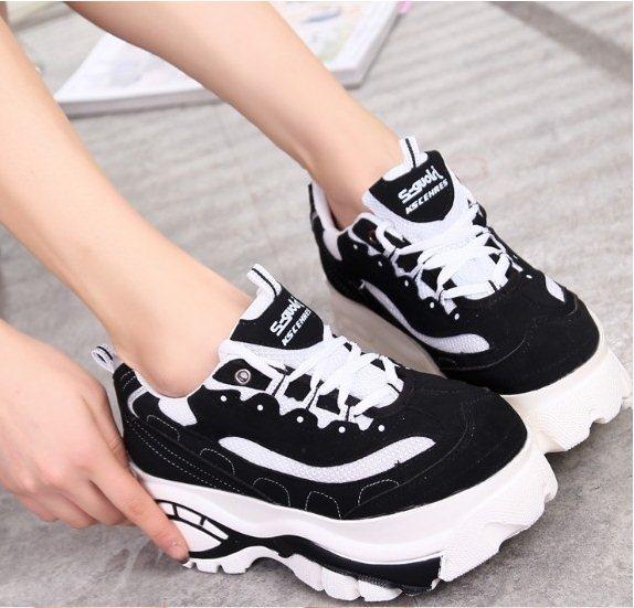 Ly9155 nouvelle 2015 japonaise Harajuku Style femmes rétro noir et blanc plate  forme peu grosse tête chaussures baskets étudiants taille 35 39 dans Hommes