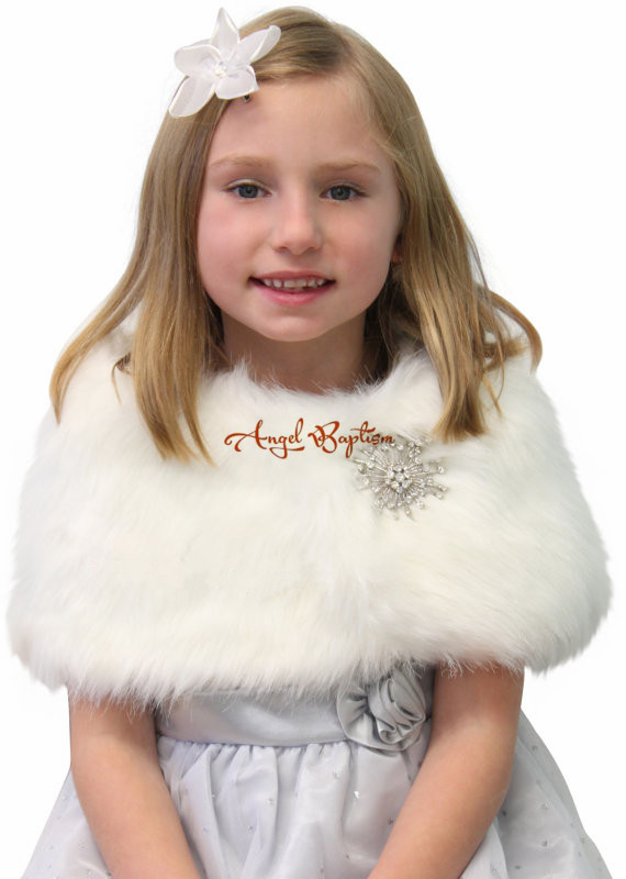 ФОТО Thick Short Fall Winter wedding party warm white/ivory flower girl faux fur bolero toddler jacket wrap little kid cape