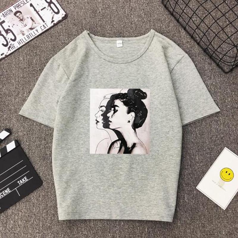 Girls Print Short Sleeve O Neck Cotton Spandex Top Slim Fit Soft T-shirt 13