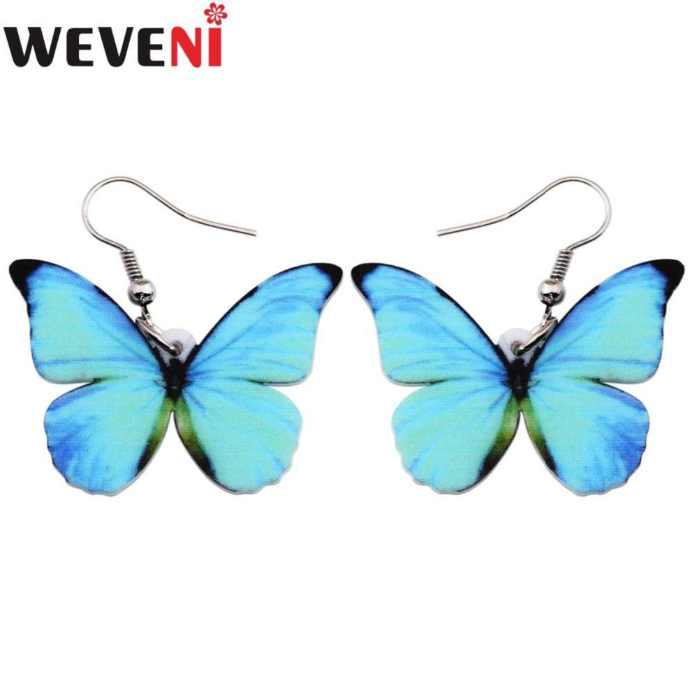 WEVENI Acrylic Drop Dangle Big Morpho Menelaus Butterfly Earrings Drop Shipping Fashion Accessories Insect Jewelry For Women