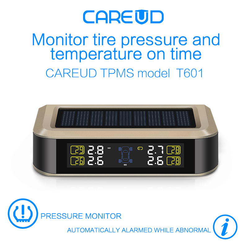 solar power supply TPMS car tire pressure monitoring system with 4 internal sensors PSI/BAR measurement High quality CAREUD 601 careud u903 wf tpms wireless tire pressure monitor with 4 external sensors