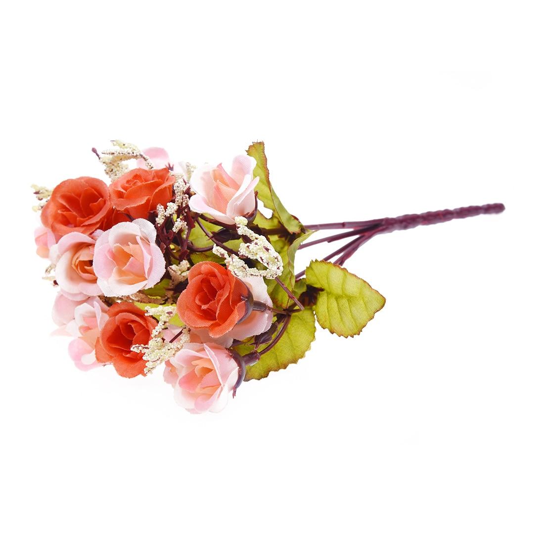 Artificial Rose Flower Leaf Home Wedding Decor (Orange)