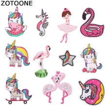 ZOTOONE Unicorn Flamingo Patches Seahorse Sticker Iron on Clothes Heat Transfer Applique Embroidered Applications Cloth Fabric G(China)