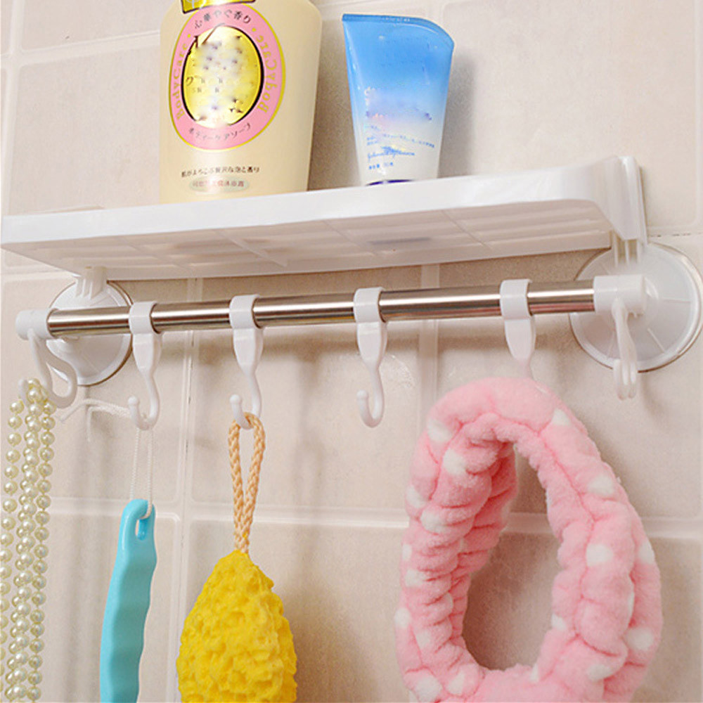 4 Colors Bathroom Kitchen Storage Rack Strong Sucker Wall Mounted ...