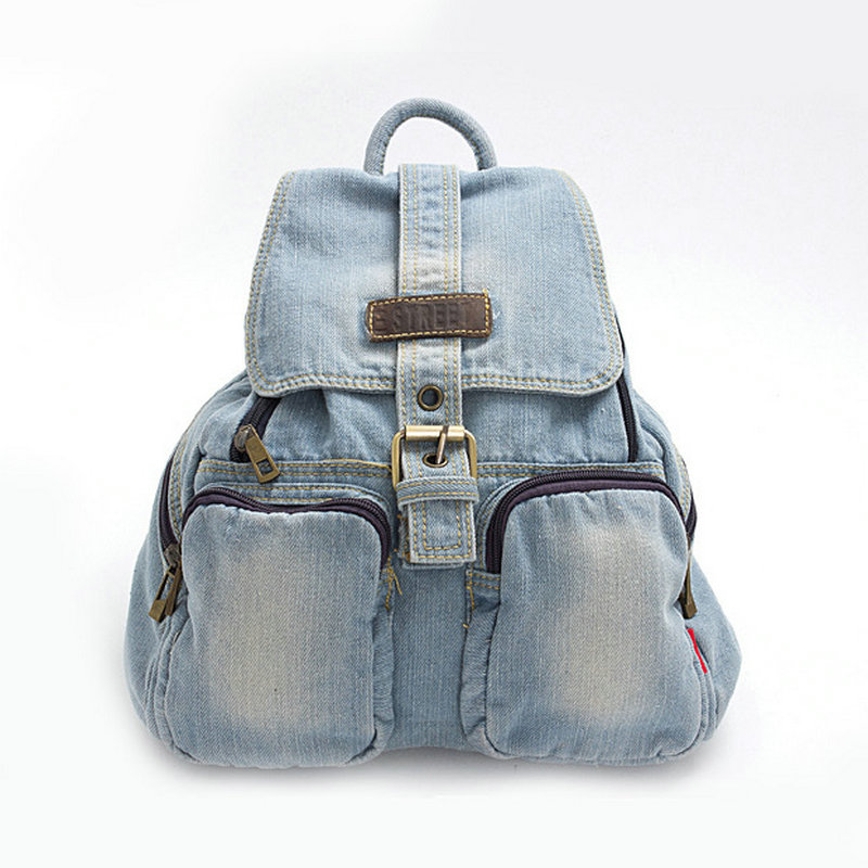 ФОТО Classic washed blue denim backpack student jeans school bag man and women's leisure travel bags with zipper pockets