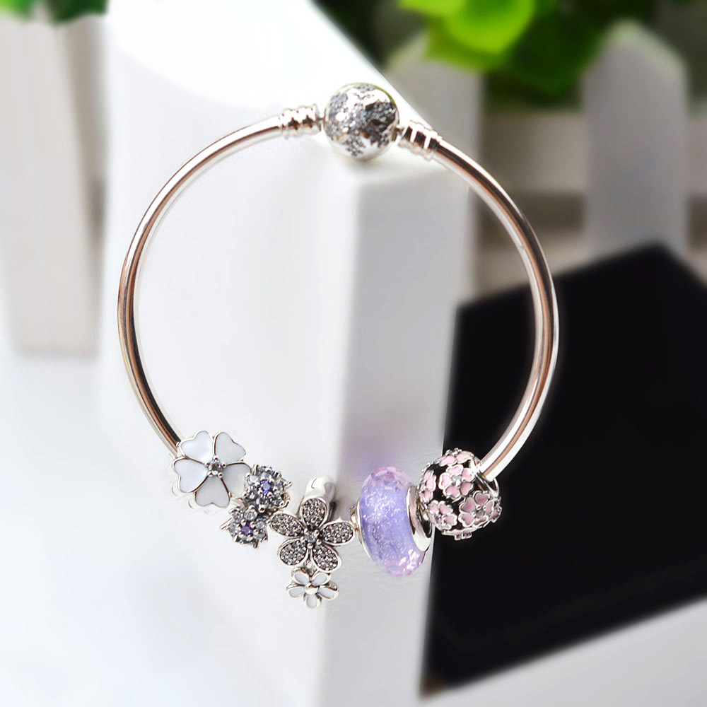 NEW NEW 100% 925 Sterling Silver Bracelet Set For Europe Women Spring Purple Flowers DIY Gift Original Bangle Charm JewelryNEW NEW 100% 925 Sterling Silver Bracelet Set For Europe Women Spring Purple Flowers DIY Gift Original Bangle Charm Jewelry