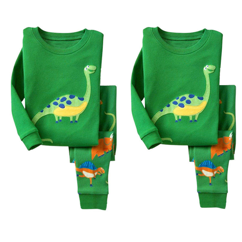 цена на 2016 Autumn Kids Baby Boy Girls Dinosaur Pajamas Set Long sleev T-shirt pant Nightwear Sleepwear Homewear
