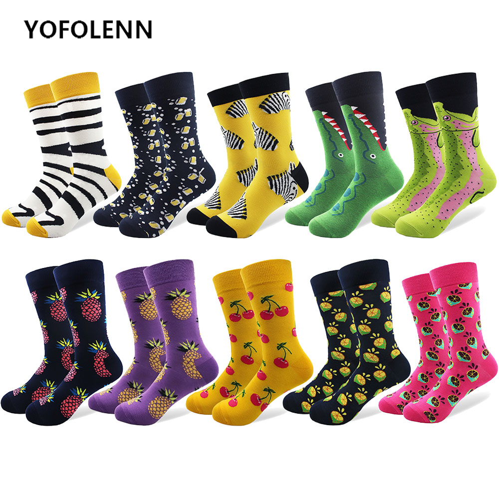10 Pair/lot Mens Sock Banana Zebra Strawberry Pattern Male Cotton Crazy Colorful Socks Breathable Crew Funny Socks for Gifts