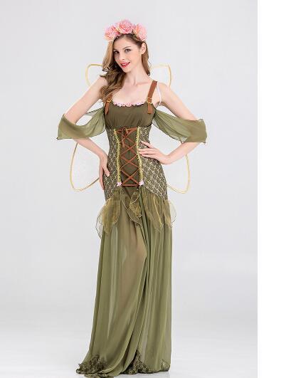 New Angel Flower Fairy Dress Most Popular Classic Halloween Cosplay Costume Women Green Flower Fairy Princess Costume
