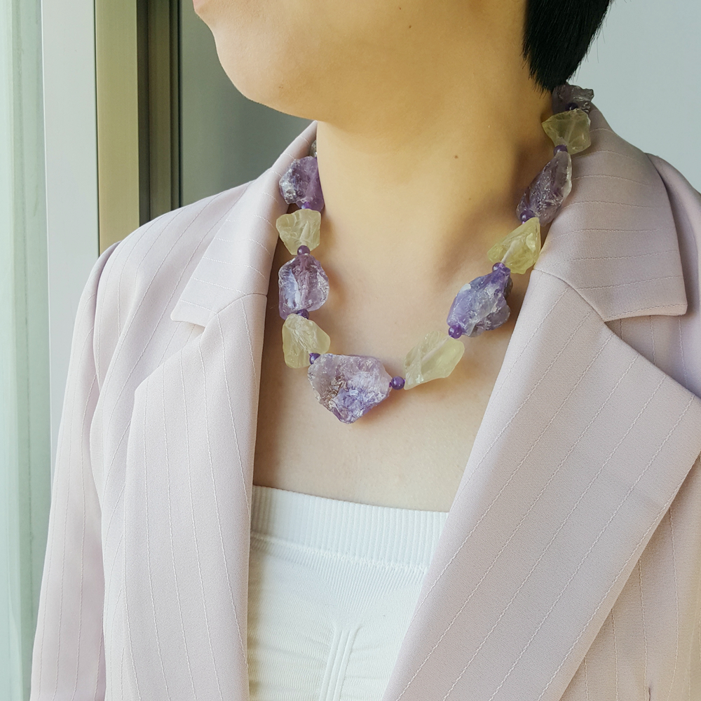 Image 3 - LiiJi Unique Real Amethysts Lemon quartzs Raw Stone Jades Toggle Clasp Huge Chunky Necklace 50cm/20inches Mothers Day Nice GiftChain Necklaces   -