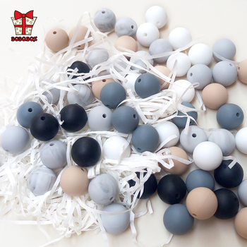BOBO.BOX 30pcs Silicone Beads 9mm Food Grade Baby Teethers Beads Silicone BPA Free For Necklaces Pacifier Holder Clip Chain DIY