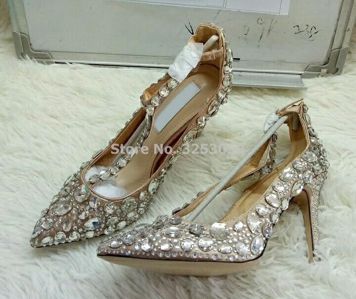 Bling Bling Kristall Frauen Hochzeit Schuhe Spitz Super Stiletto High Heel Sandalen T bar Abdeckung Ferse Schnalle pumpen - 6