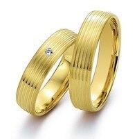 Его и ее обручальные пары обручальные кольца, наборы для пары желтый позолота здоровья titanium ювелирные изделия