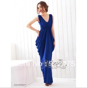 free shipping, 2013 new arrival fashion women sexy V-neck lace bow slim long dress,cb393