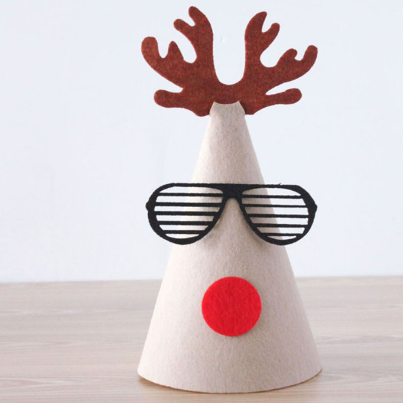 Manual DIY Christmas Hat Antlers Moustache Cartoon Originality Green Leaf Rudolf Gingerbread Snowman
